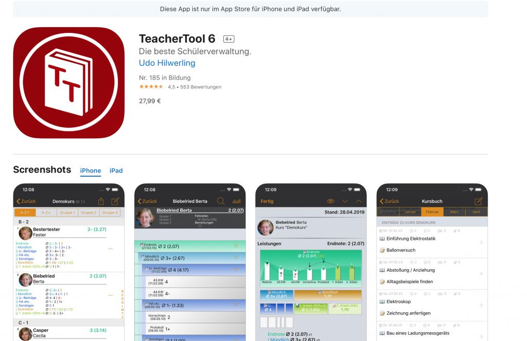 Apps für Lehrer: TeacherTool