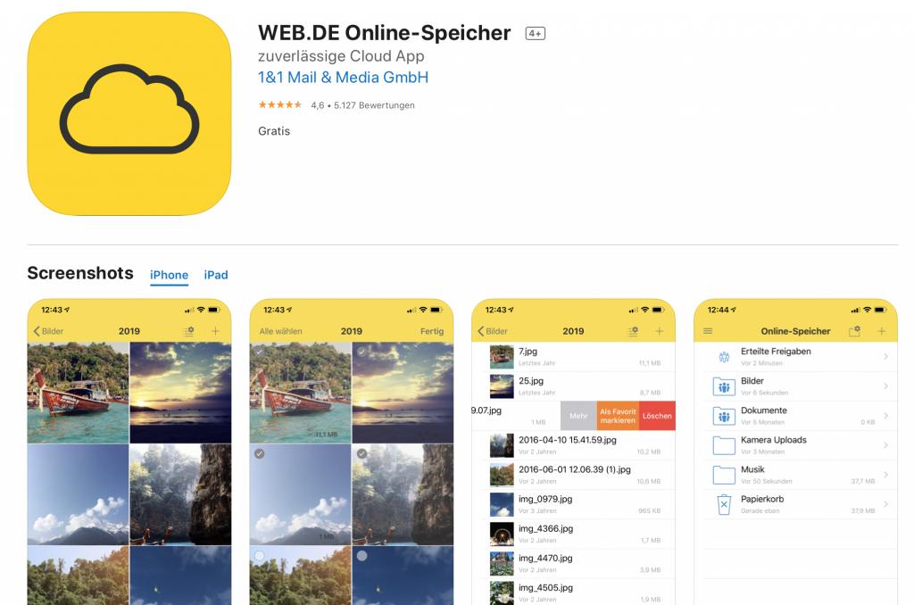 Apps für Lehrer: Web.de Cloud