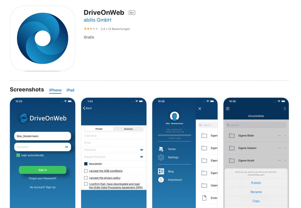 Apps für Lehrer: DriveOnWeb Cloud