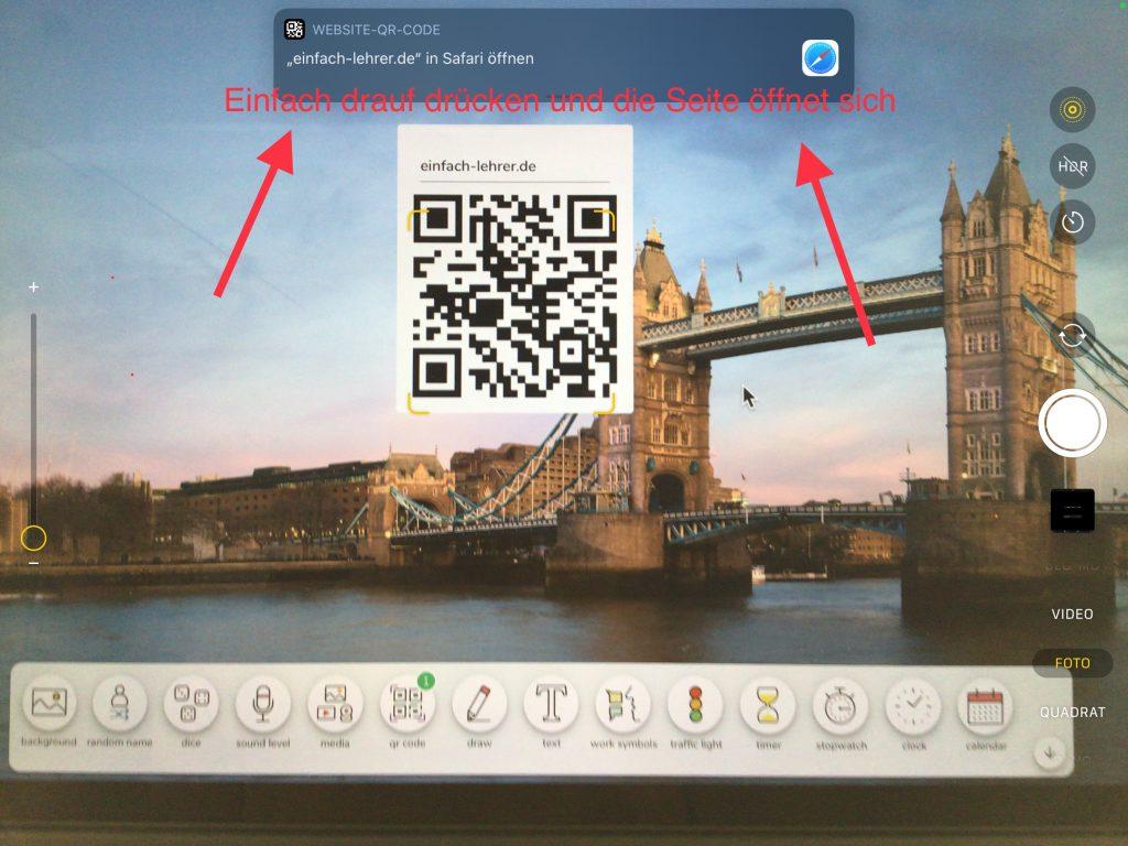Das iPad im Unterricht: Den eingebauten QR-Code Scanner benutzen, um Internetseiten zu öffnen.